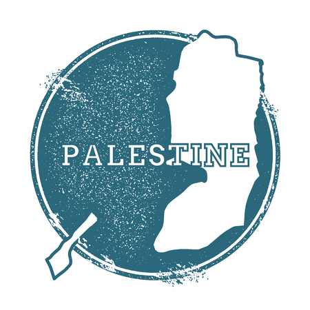 Grunge rubber stamp with name and map of Palestine, vector illustration. Can be used as insignia, logotype, label, sticker or badge of the country.