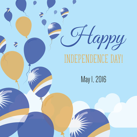 Independence Day Flat Greeting Card. Marshall Islands Independence Day. Marshallese Flag Balloons Patriotic Poster. Happy National Day Vector Illustration.