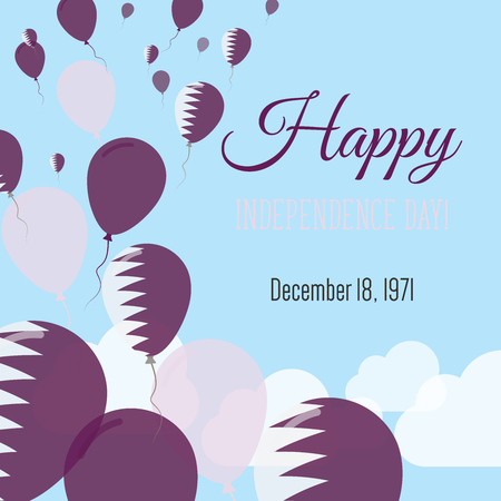 Independence Day Flat Greeting Card. Qatar Independence Day. Qatari Flag Balloons Patriotic Poster. Happy National Day Vector Illustration.