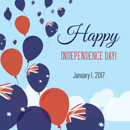 Independence Day Flat Greeting Card. Happy National Day Vector Illustration.