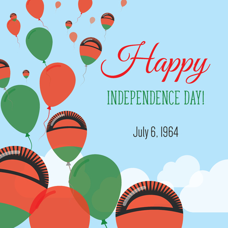 Independence Day Flat Greeting Card. Malawi Independence Day. Malawian Flag Balloons Patriotic Poster. Happy National Day Vector Illustration.