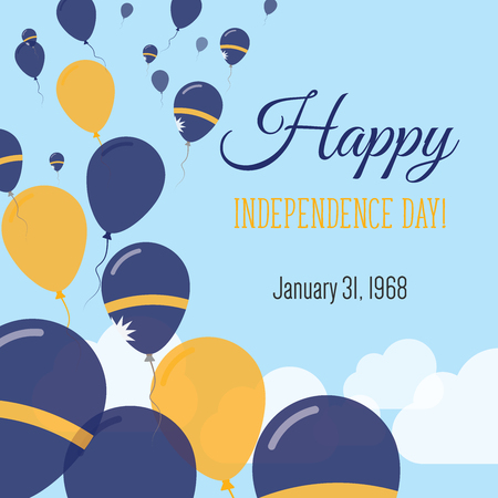 Independence Day flat greeting card. Nauru Independence Day. Nauruan flag balloons patriotic poster. Happy national day Vector illustration.