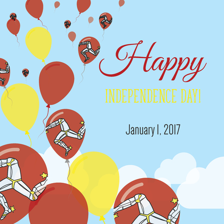 Independence Day flat greeting card. Isle of Man Independence Day. Manx flag balloons patriotic poster. Happy National Day vector illustration. Illustration