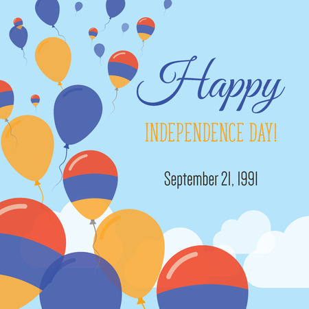 Independence Day Flat Greeting Card. Armenia Independence Day. Armenian Flag Balloons Patriotic Poster. Happy National Day Vector Illustration.