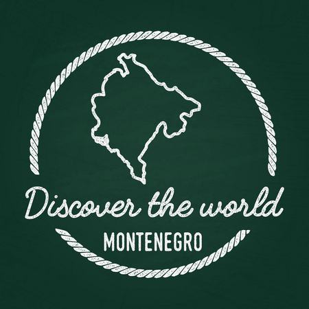 White chalk texture hipster insignia with Montenegro map on a green blackboard. Grunge rubber seal with country outlines, vector illustration. Stock Illustratie