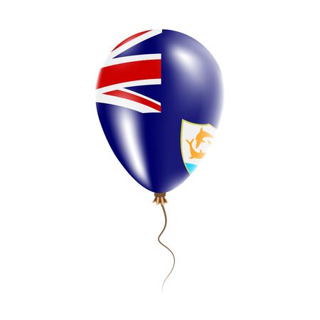 Anguilla balloon with flag. Bright Air Ballon in the Country National Colors. Country Flag Rubber Balloon. Vector Illustration.