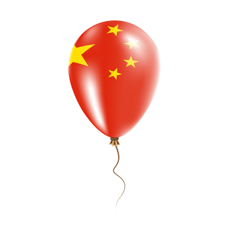 China balloon with flag. Bright Air Ballon in the Country National Colors. Country Flag Rubber Balloon. Vector Illustration. Illustration