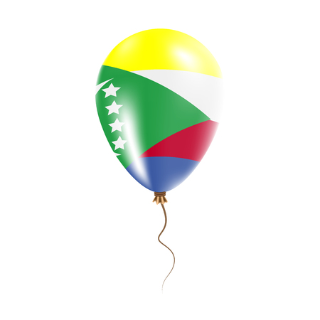 Comoros balloon with flag. Bright Air Ballon in the Country National Colors. Country Flag Rubber Balloon. Vector Illustration.