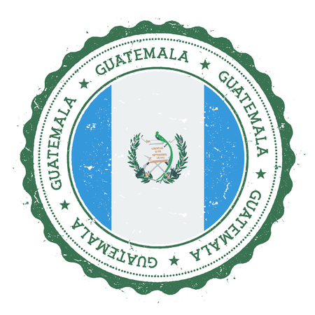 Grunge rubber stamp with Guatemala flag. Vintage travel stamp with circular text, stars and national flag inside it. Vector illustration. Иллюстрация