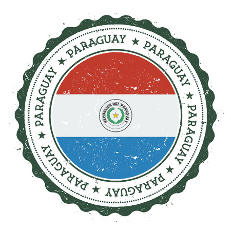 Grunge rubber stamp with Paraguay flag. Vintage travel stamp with circular text, stars and national flag inside it. Vector illustration. Vettoriali