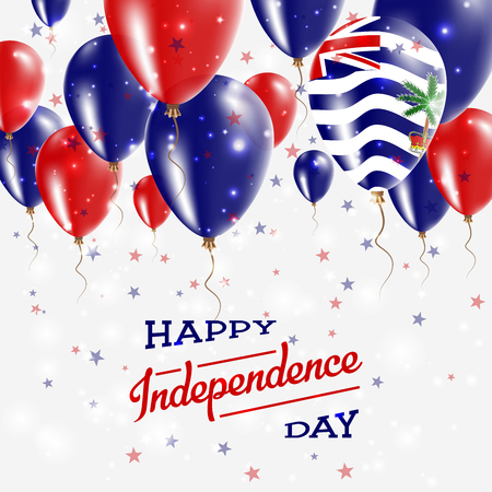 British Indian Ocean Territory Vector Patriotic Poster. Independence Day Placard with Bright Colorful Balloons of Country National Colors. Çizim
