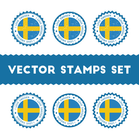 I Love Sweden vector stamps set. Retro patriotic country flag badges. National flags vintage round signs.