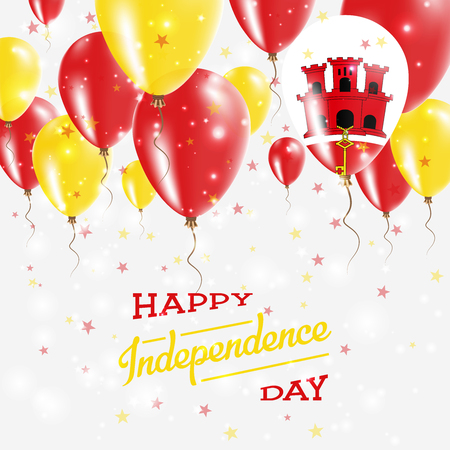 Gibraltar Vector Patriotic Poster. Independence Day Placard with Bright Colorful Balloons of Country National Colors.