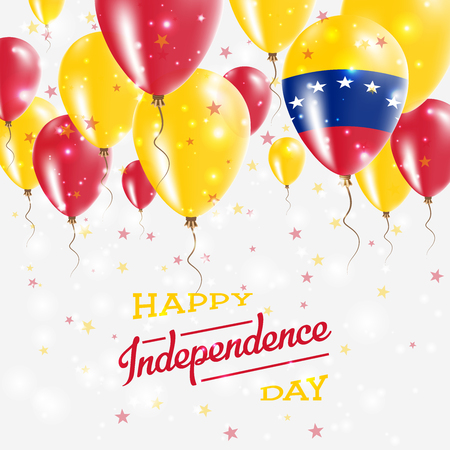 Venezuela, Bolivarian Republic of Vector Patriotic Poster. Independence Day Placard with Bright Colorful Balloons of Country National Colors. Reklamní fotografie - 93383183