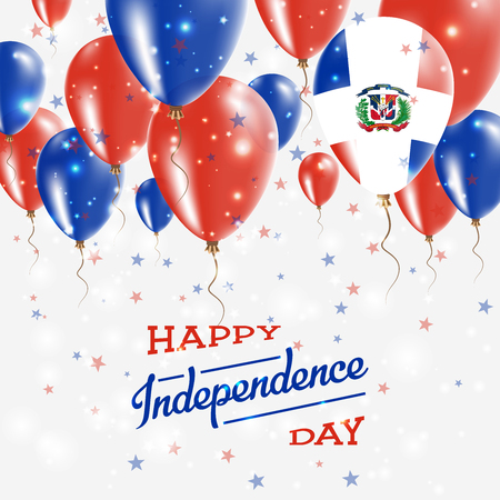 Dominican Republic Vector Patriotic Poster. Independence Day Placard with Bright Colorful Balloons of Country National Colors.