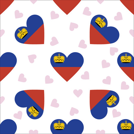 Liechtenstein independence day seamless pattern. Patriotic background with country national flag in the shape of heart. Vector illustration.