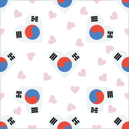 Korea, Republic of independence day seamless pattern. Patriotic background with country national flag in the shape of heart. Vector illustration.