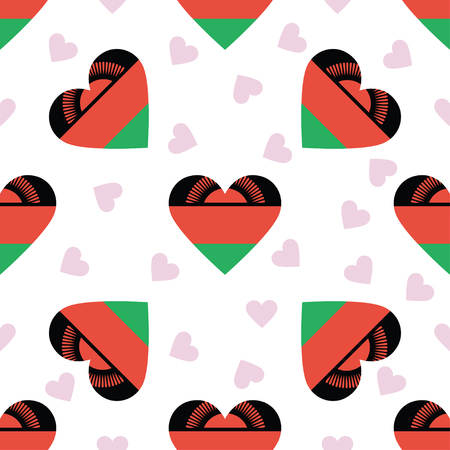 Malawi independence day seamless pattern. Patriotic background with country national flag in the shape of heart. Vector illustration.