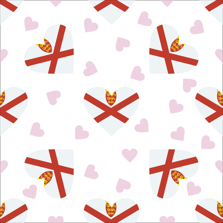 Jersey independence day seamless pattern. Patriotic background with country national flag in the shape of heart.