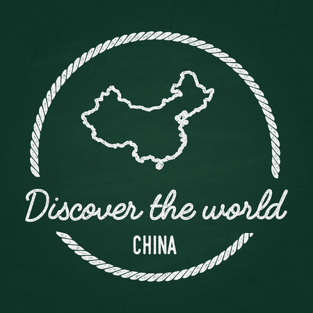 White chalk texture hipster insignia with Peoples Republic of China map on a green blackboard. Grunge rubber seal with country outlines, vector illustration. Illustration