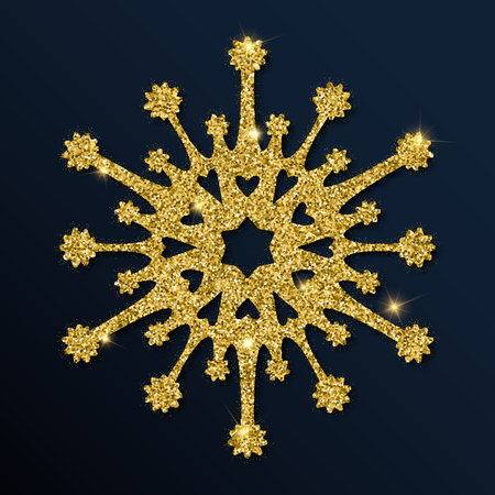 Golden glitter unique snowflake. Luxurious Christmas design element, vector illustration. Иллюстрация