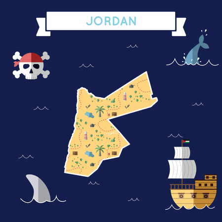 Flat treasure map of Jordan. Colorful cartoon with icons of ship, jolly roger, treasure chest and banner ribbon. Flat design vector illustration. Vettoriali