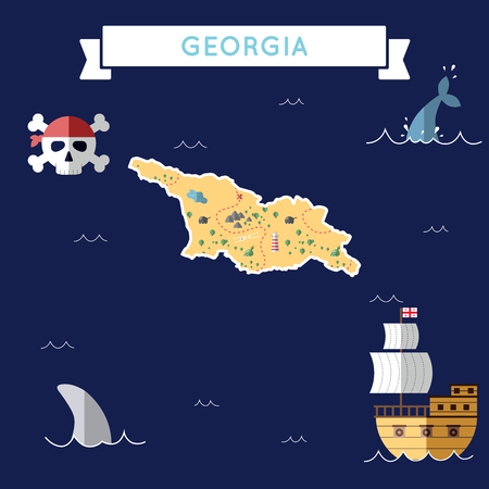 Flat treasure map of Georgia
