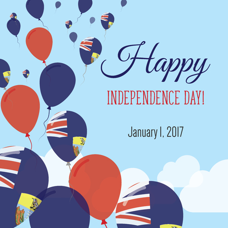 Independence Day Flat Greeting Card. Saint Helena, Ascension and Tristan da Cunha Independence Day. Saint Helenian Flag Balloons Patriotic Poster. Happy National Day Vector Illustration.
