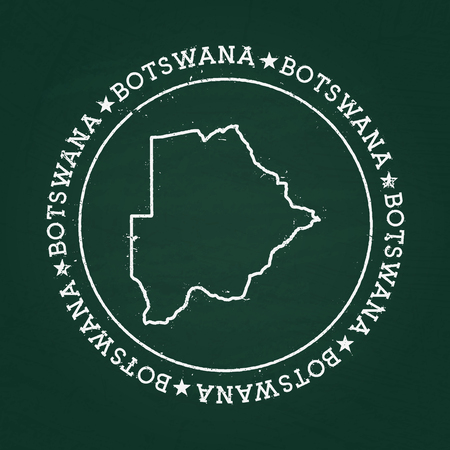 White chalk texture rubber seal with Republic of Botswana map on a green blackboard. Grunge rubber seal with country outlines, vector illustration.