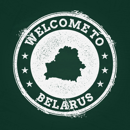 White chalk texture retro stamp with Republic of Belarus map on a green blackboard. Grunge rubber seal with country outlines, vector illustration.