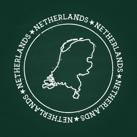White chalk texture rubber seal with Kingdom of the Netherlands map on a green blackboard. Grunge rubber seal with country outlines, vector illustration.
