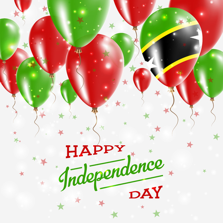 Saint Kitts And Nevis vector patriotic poster. Independence Day placard with bright colorful balloons of country national colors. Saint Kitts And Nevis Independence Day celebration.