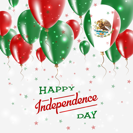 Mexico vector patriotic poster, Independence Day placard with bright colorful balloons of country national colors, Mexico Independence Day celebration.