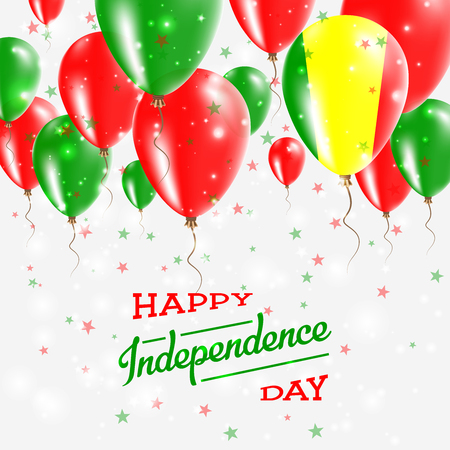 Mali Vector Patriotic Poster. Independence Day Placard with Bright Colorful Balloons of Country National Colors. Mali Independence Day Celebration.