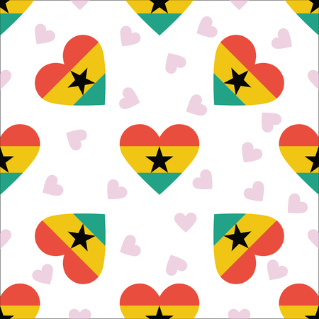 Ghana independence day seamless pattern. Patriotic background with country national flag in the shape of heart. Vector illustration.