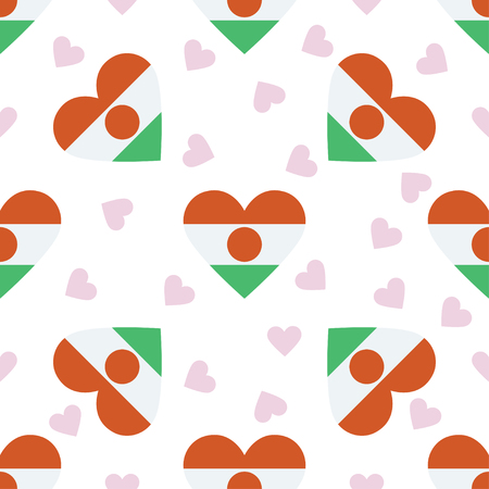 Niger Independence Day seamless pattern. Patriotic background with country national flag in the shape of heart. Vector illustration.