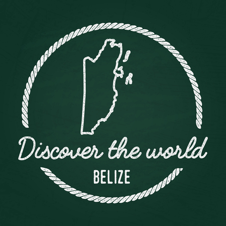 White chalk texture hipster insignia with Belize map on a green blackboard. Grunge rubber seal with country outlines, vector illustration.