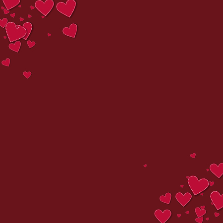 Red stitched paper hearts. Frame corners on wine red background. Vector illustration. Illustration