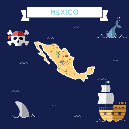 Flat treasure map of Mexico. Colorful cartoon with icons of ship, jolly roger, treasure chest and banner ribbon flat design vector illustration.