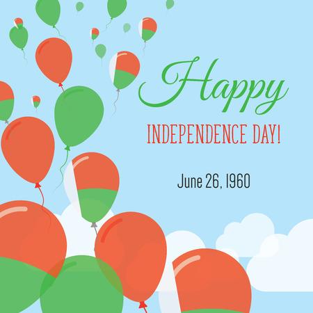 Cartolina d'auguri piatta di giorno di indipendenza. Festa dell'indipendenza del Madagascar. Poster patriottico di palloncini bandiera malgascia. Illustrazione vettoriale di felice festa nazionale.