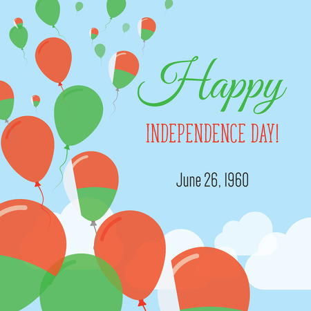 Independence Day Flat Greeting Card. Madagascar Independence Day. Malagasy Flag Balloons Patriotic Poster. Happy National Day Vector Illustration.