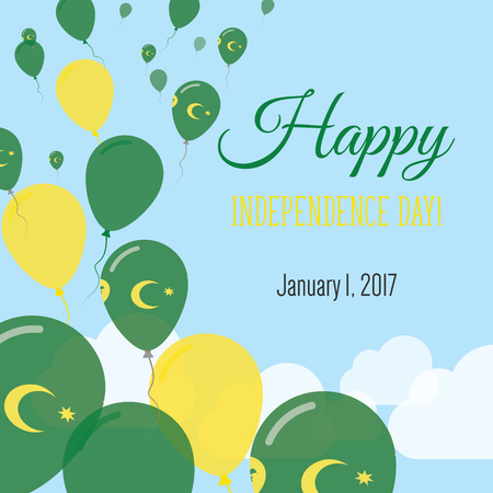 Independence Day Flat Greeting Card. Cocos (Keeling) Islands Independence Day. Cocos Islander Flag Balloons Patriotic Poster. Happy National Day Vector Illustration.