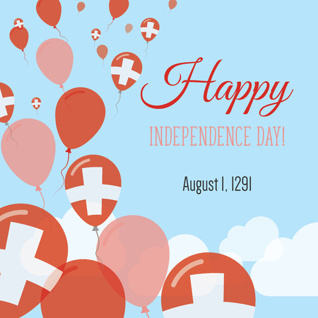 Independence Day flat greeting card. Switzerland Independence Day. Swiss flag balloons patriotic poster. Happy National Day vector illustration.