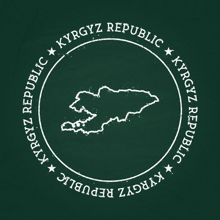 White chalk texture rubber seal with Kyrgyz Republic map on a green blackboard. Grunge rubber seal with country outlines, vector illustration.