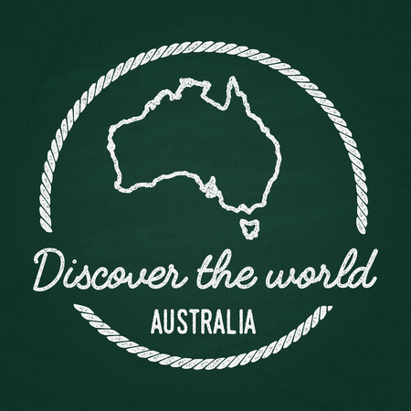 White chalk texture hipster insignia with Commonwealth of Australia map on a green blackboard. Grunge rubber seal with country outlines, vector illustration. Illustration