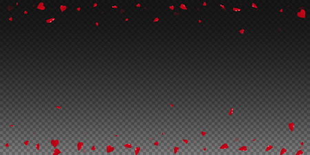 3d hearts valentine background. Scattered border on transparent grid dark background. 3d hearts valentines day tempting design. Vector illustration. Illustration