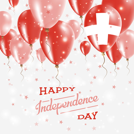 Switzerland Vector Patriotic Poster. Independence Day Placard with Bright Colorful Balloons of Country National Colors. Switzerland Independence Day Celebration. Illustration