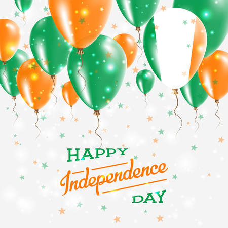 Ireland Vector Patriotic Poster. Independence Day Placard with Bright Colorful Balloons of Country National Colors. Ireland Independence Day Celebration.