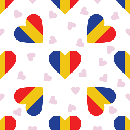 Chad independence day seamless pattern. Patriotic background with country national flag in the shape of heart. Vector illustration. Illustration