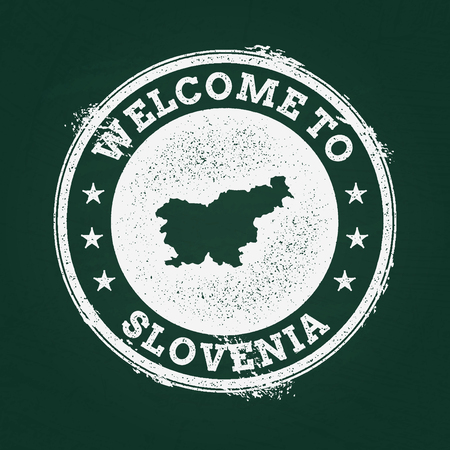 White chalk texture retro stamp with Republic of Slovenia map on a green blackboard. Grunge rubber seal with country outlines, vector illustration.